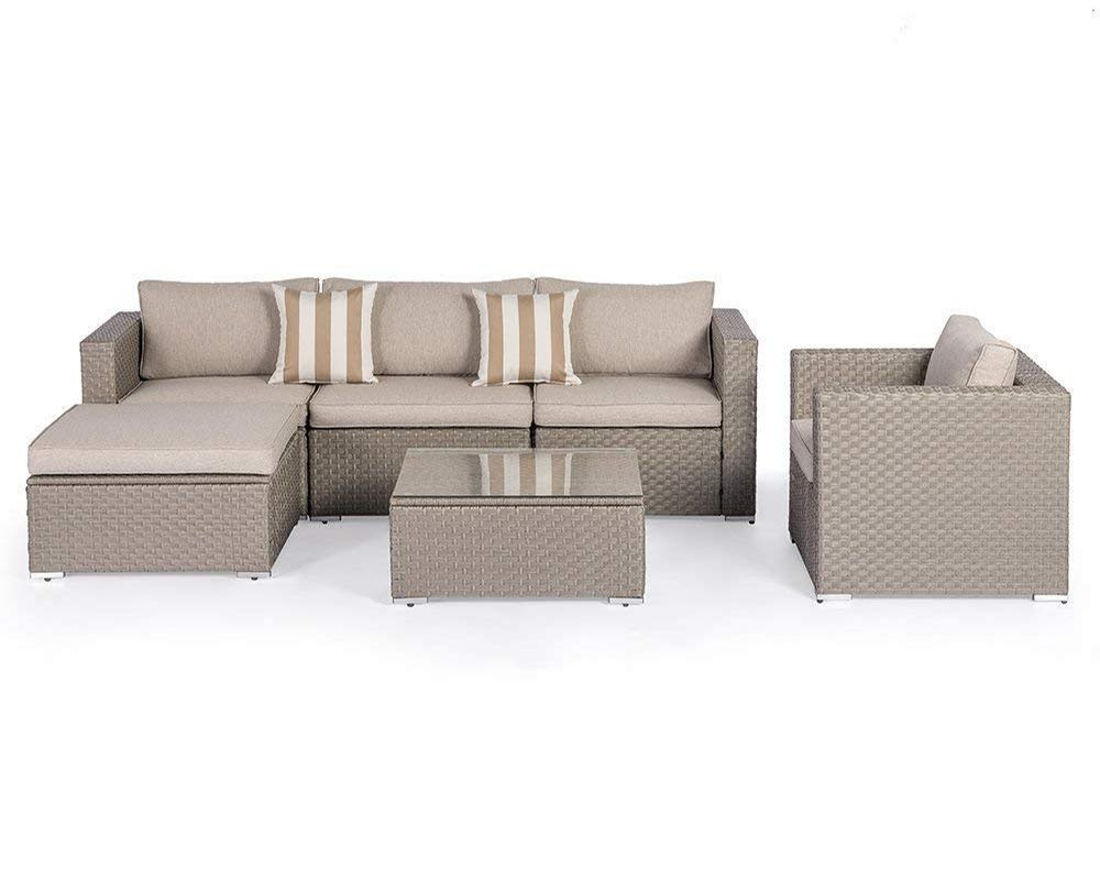 SUNCROWN Outdoor Modular Sectional Furniture Set (6-Piece) All-Weather Grey Wicker Light Grey Zippered Cushions & Sophisticated Glass Coffee Table | Patio, Backyard, Pool