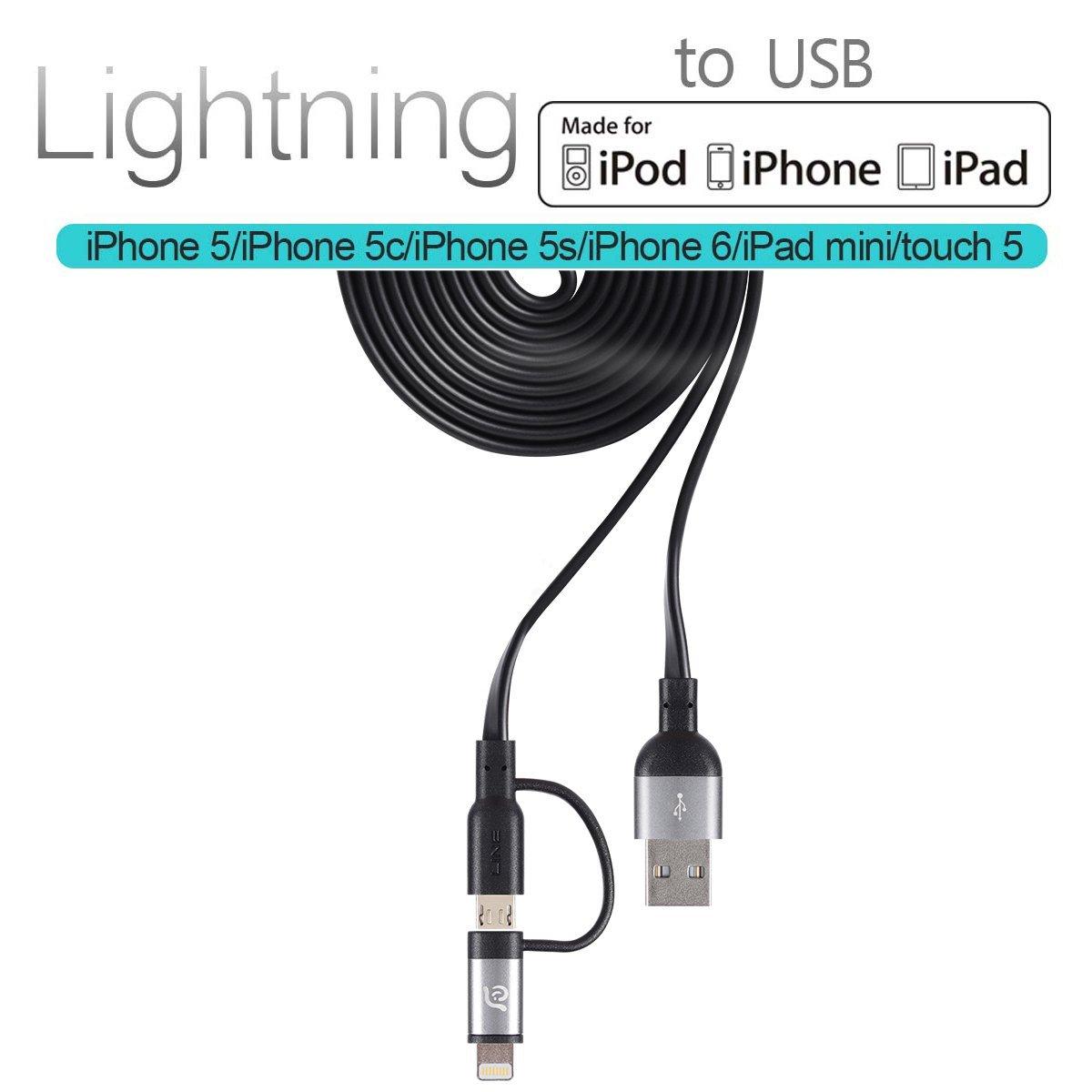 Adam PeAk Lightning Cable, [Apple MFi Certified] 120FT Duo Mfi Metal tangle free flat Lightning reversible USB cable for iPhone 6, iPhone 6 Plus, 5s 5c 5, iPad Air Air2 mini mini2 mini3, iPad 4th gen, iPod touch 5th gen, and iPod nano 7th Grey