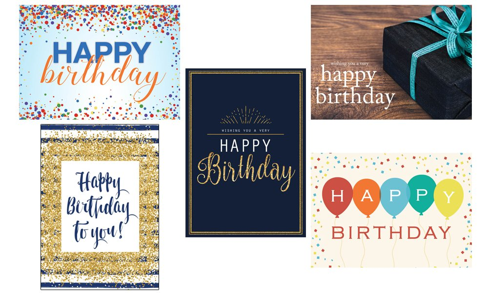 Business Greeting Cards Featuring Five Different Birthday