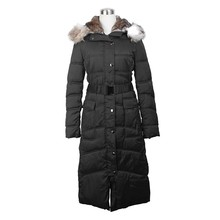 Women's elegant Hooded Down Jacket coats with Big fox fur collar parkas in long section