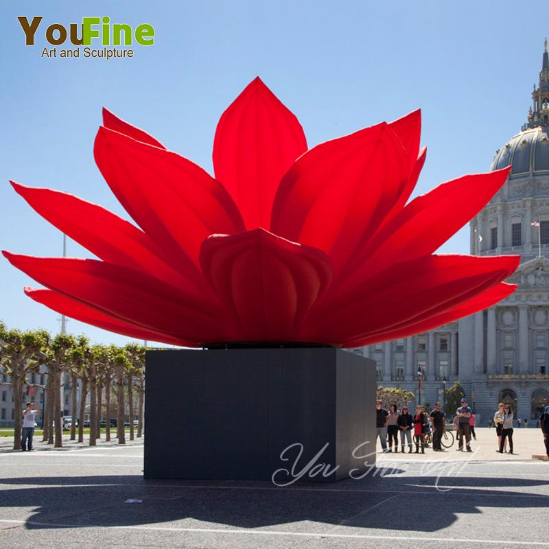 Outdoor Stainless Steel Red Lotus Flower Sculpture Buy Lotus