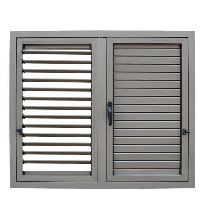 New design waterproof aluminum casement window with adjustable manual louver