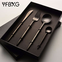 2018 amazon top seller knife fork black knife fork spoon set in box