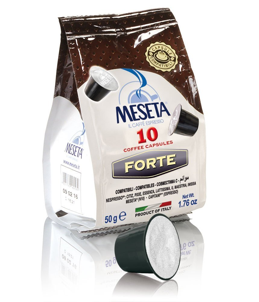Nespresso Compatible (Original Line) 100 Meseta Forte Capsules Italian Gourmet coffee the perfect choice for the lovers of strong coffee, and for those who want to enjoy a creamy espresso Intensity 11