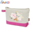 Wholesale floral printed canvas cosmetics makeup bag with zipper for travelling