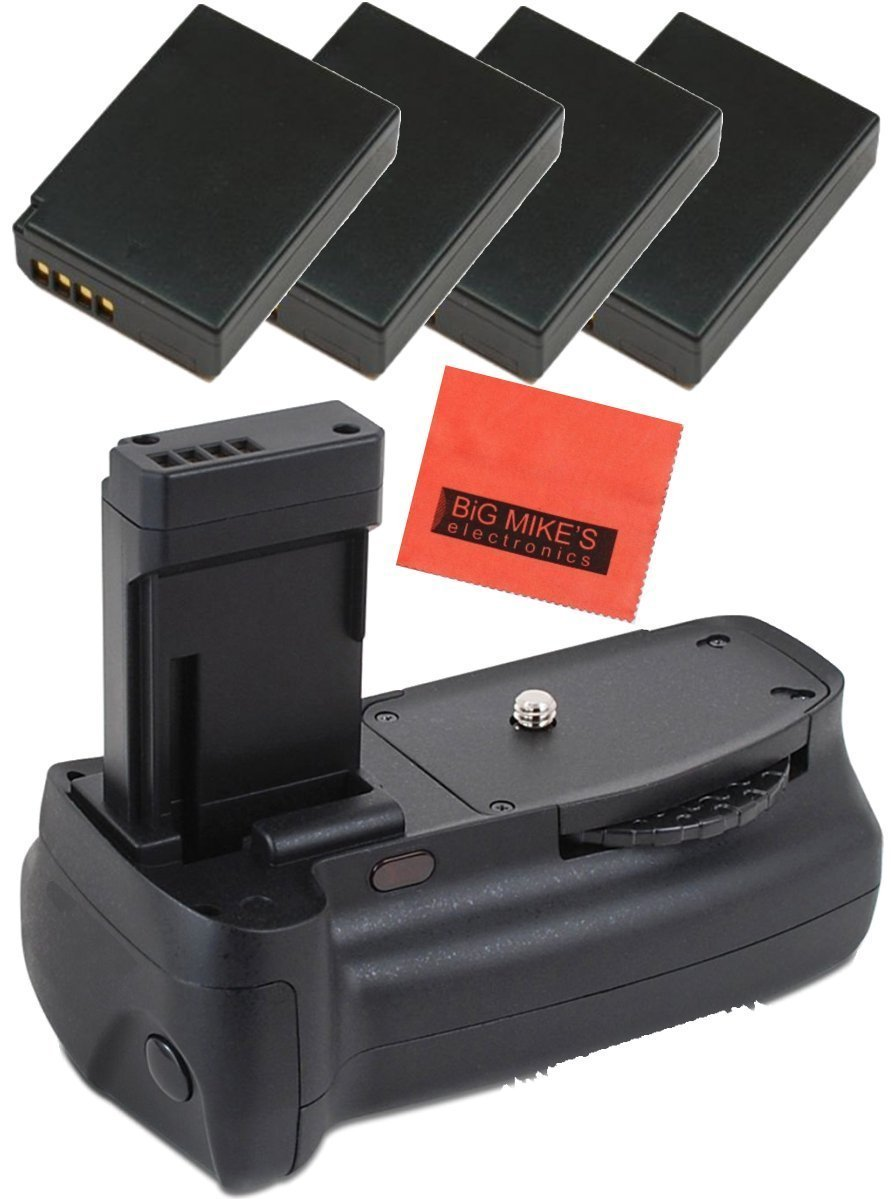 Battery Grip Kit for Canon EOS Rebel T3, T5, T6, Kiss X50, Kiss X70, EOS 1100D, EOS 1200D, EOS 1300D Digital SLR Camera Includes Qty 4 Replacement LP-E10 Batteries + Vertical Battery Grip + More!!
