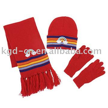 knitted hat scarf gloves set