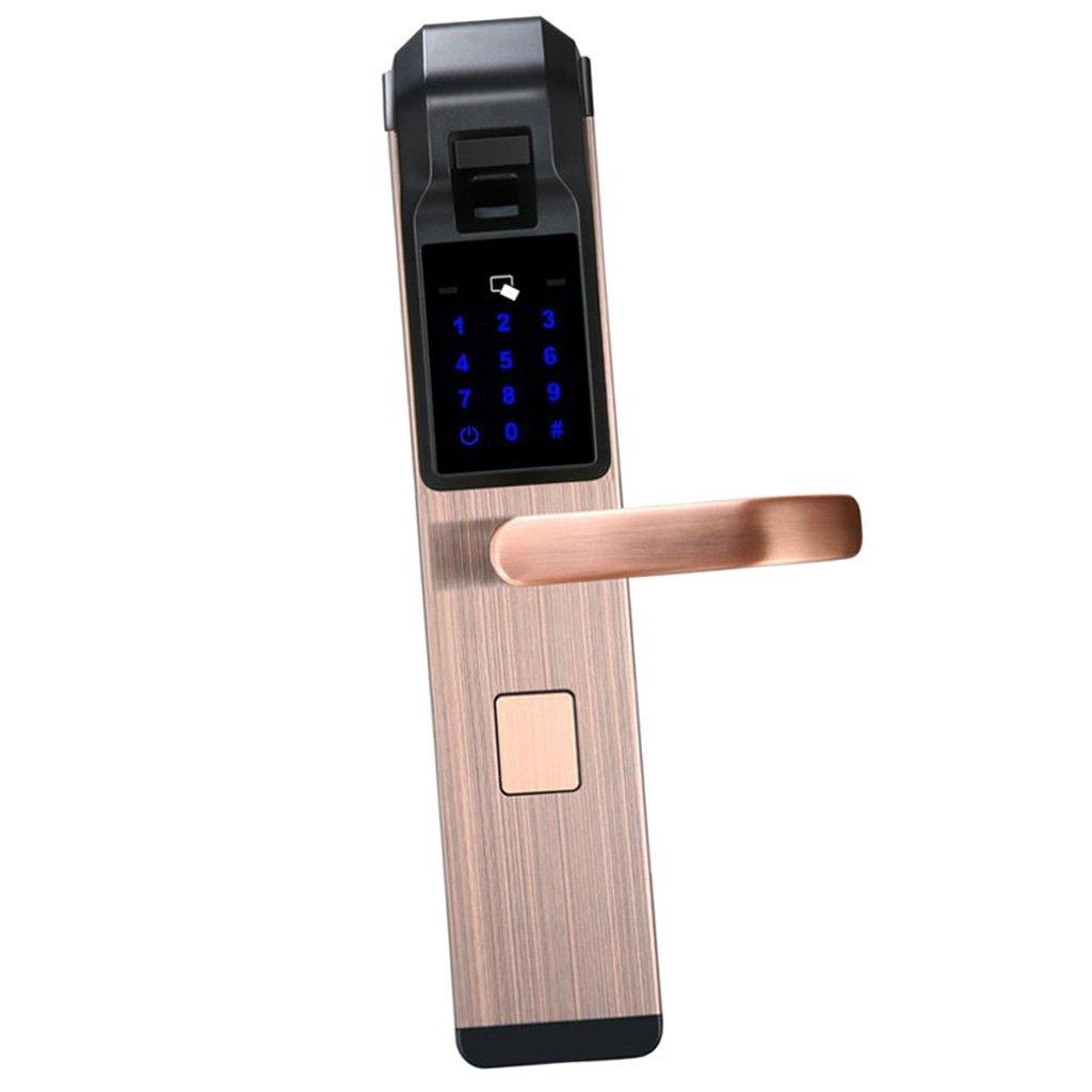 Baoblaze 4 Way Universal Smart Door Lock Digital keypad Door Lock- Password & Card & Fingerprint & key - Red Bronze