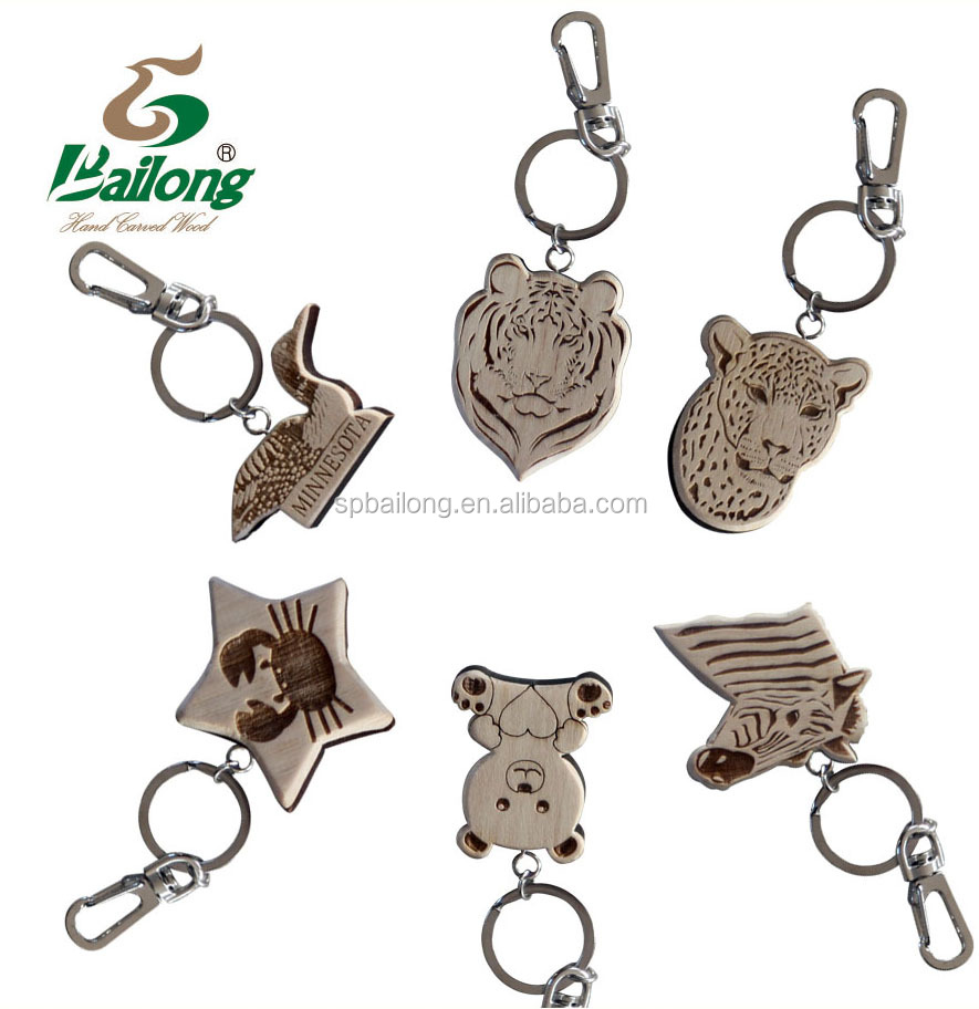 Custom logo route 66 wooden keychain