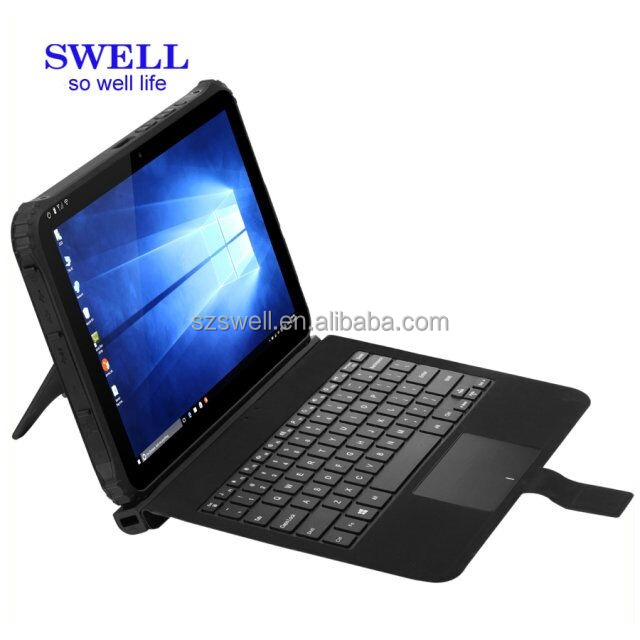 I22H keyboard with touch pad win10/android5.1 ip65 280 nit screen intel Z8300 Dual Boot Handheld Tablets with rj45 serial port
