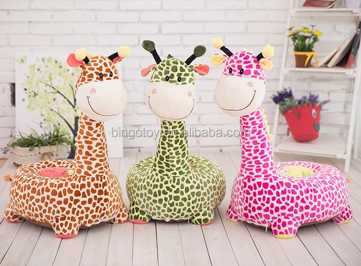 Popular Cheap Safety Soft Plush Animal Mini Kids Baby Foam Sofa Chair Plush  Giraffe Chair