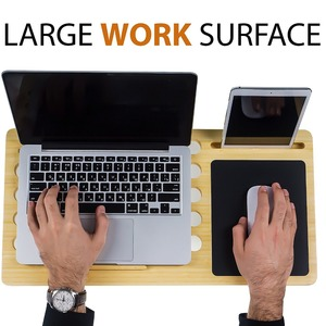 Bamboo Portable Laptop Stand & Desk Board Slate for MacBook