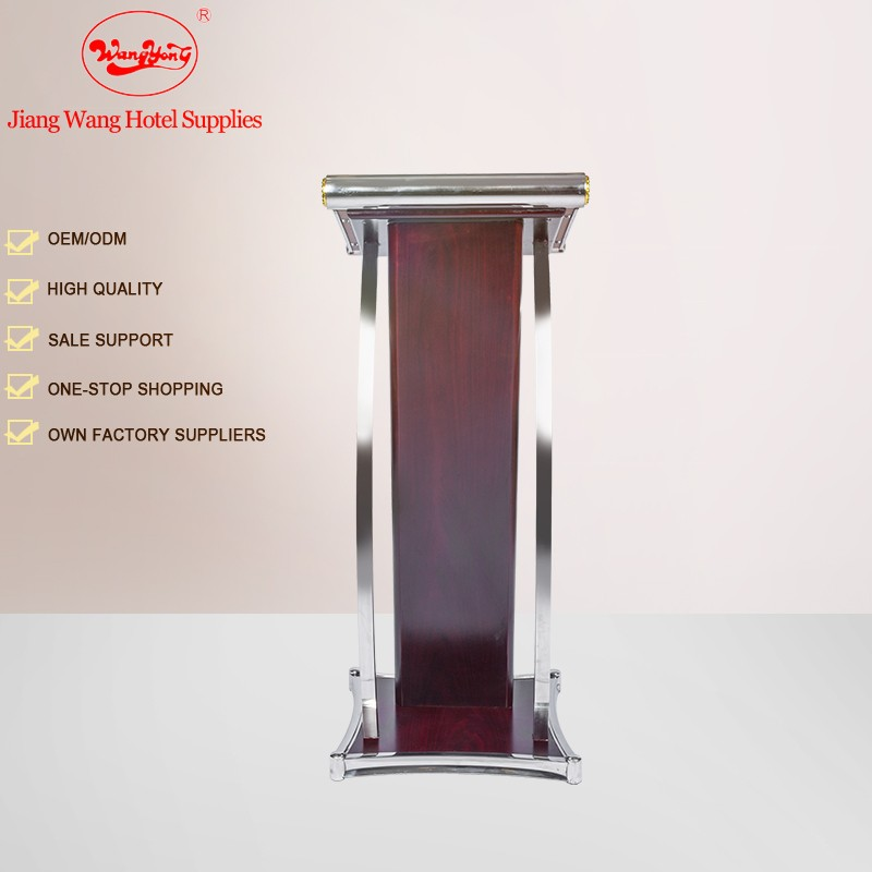 European style Wooden Rostrum Stainless Steel podium