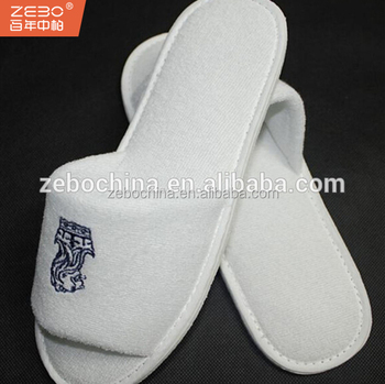 8a61a657b29 100% Cotton Towel Fabric Close Toe Style Disposable Hotel Slippers ...