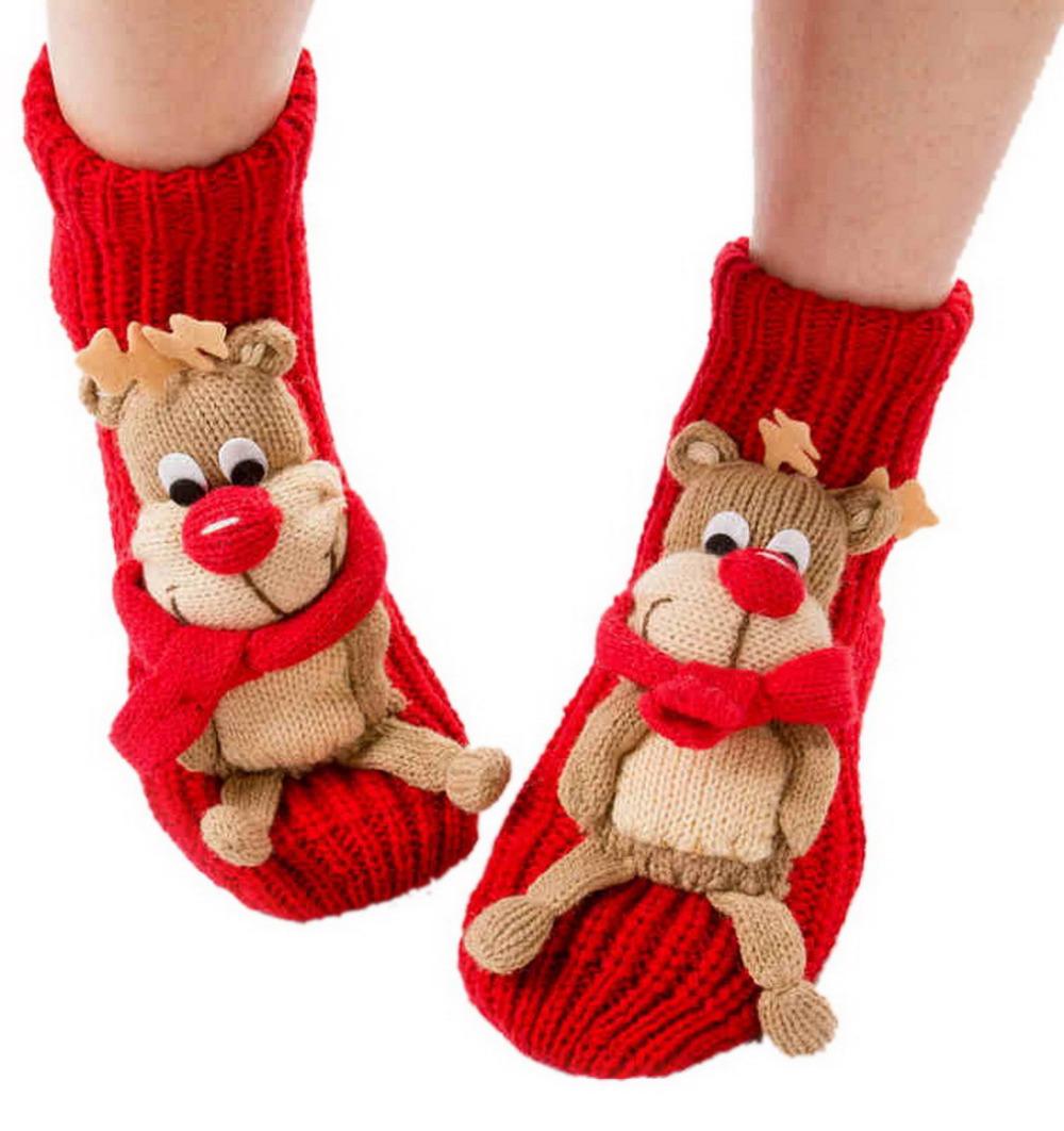 Get Quotations · Women s Slip-resistant Winter Warm Cartoon Christmas Socks  Adult Floor Socks Thickening Gift Knitted Woolen 60d890f274