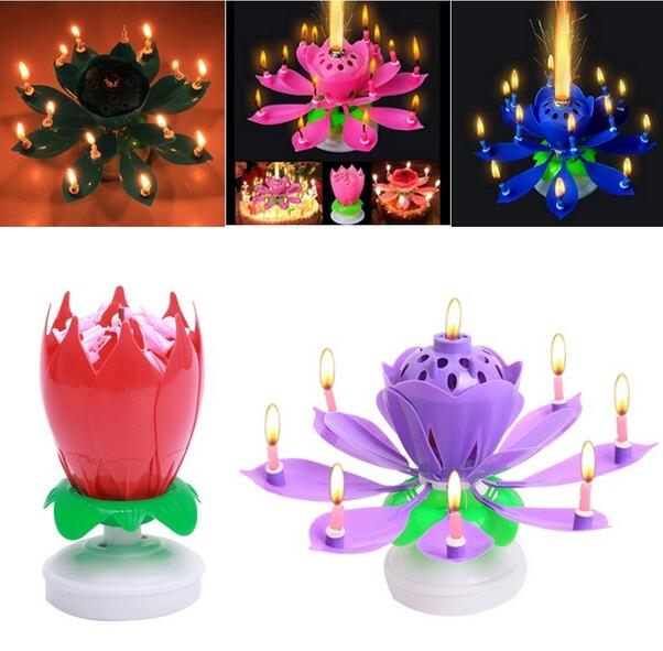 Chinese Unique Rotating Flower Lotus Music Magic Birthday Candle