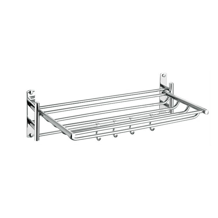 Collapsible Wall Mounted Towel Shelf With Hooks,Brass Towel Racks ...