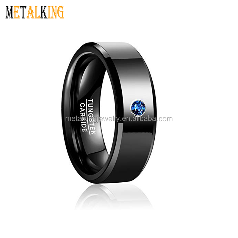 9998a93a5c333 Black Tungsten Ring for Men Women Polished Beveled Edge 8mm Blue Cubic  Zirconia Wedding Band Ring, View tungsten cubic zirconia ring, Metalking,  ...