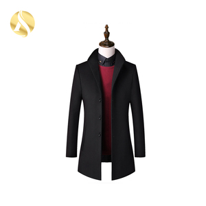 Latest Design Custom Made Black Men Wool Coat