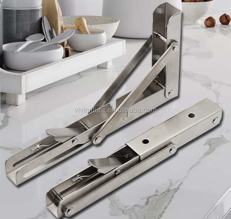 Folding Shelf Bracket Stainless Steel Triangle Wall Mount Support White Heavy Duty Shelf Brackets 2 PCS