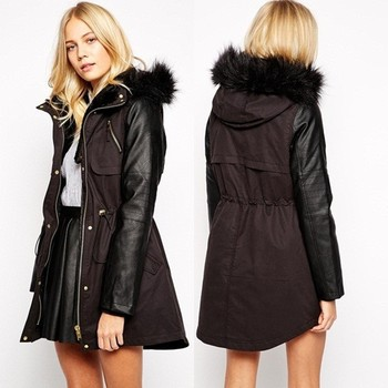 Parka leather sleeves womens