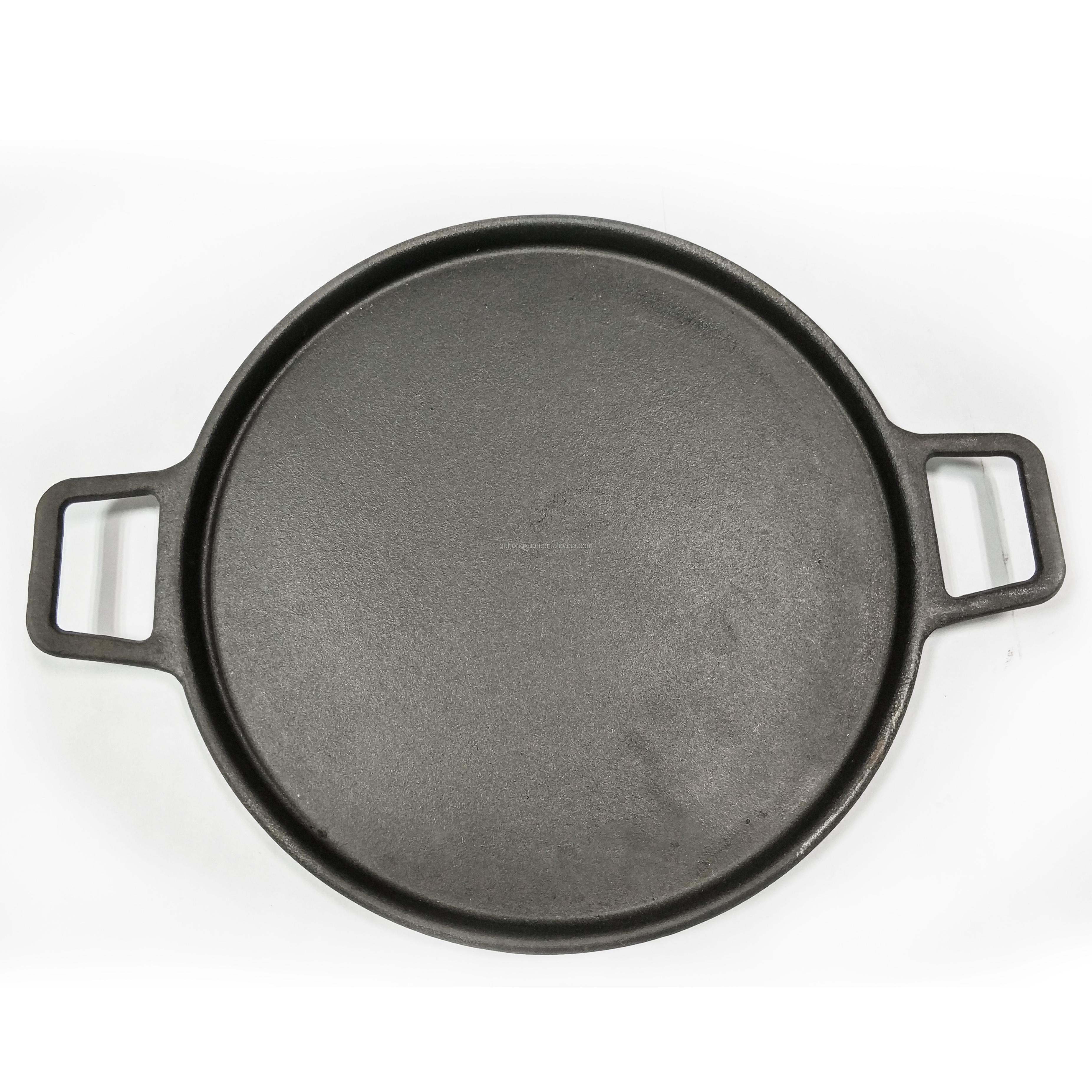 Zware Gietijzeren Grill Oven Bakplaat Bbq Roosteren Pan Ronde Grote Keuken Koekenpan Voor Pannenkoek Pizza Steak Met Lift handvat