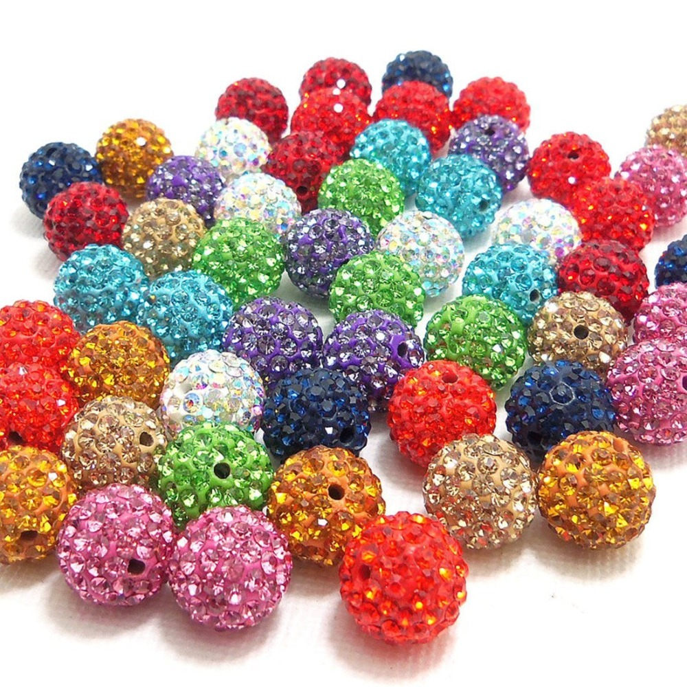Fashion Crystal Ball Jewelry Loose Beads Findings Crystal Disco Shamballa Beads