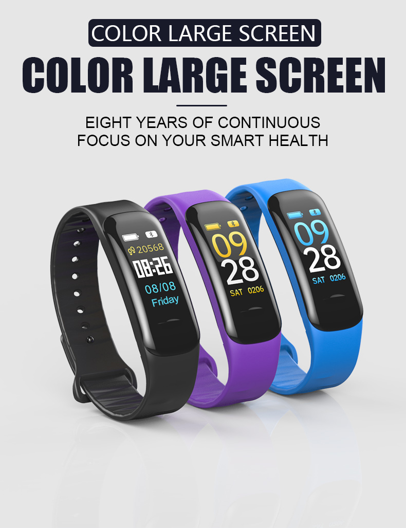 C1 Plus Color Screen Smart Bracelet Blood Pressure Heart Rate Monitor Fitness Tracker C1Plus Sport Smart Wristband
