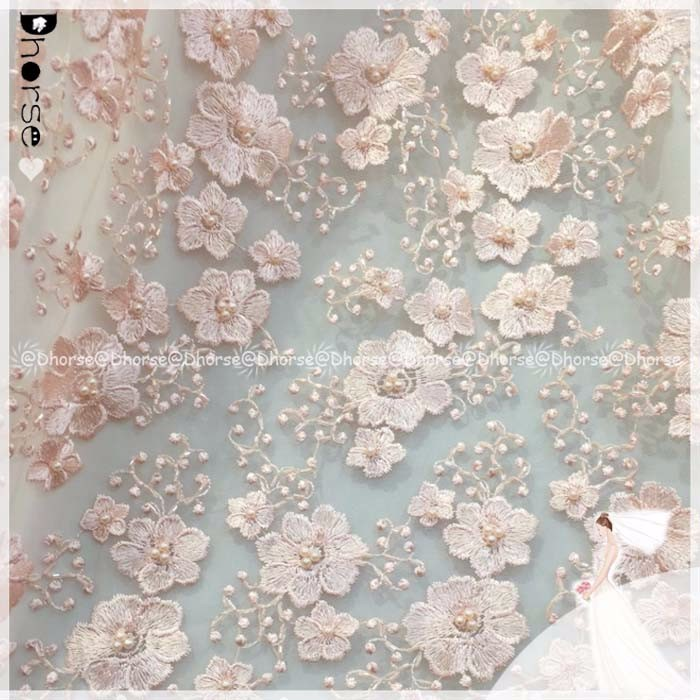 2016 Fancy Baby Pink Heavy Hand Pearls Beaded French Tulle Lace Fabric For Party Dress