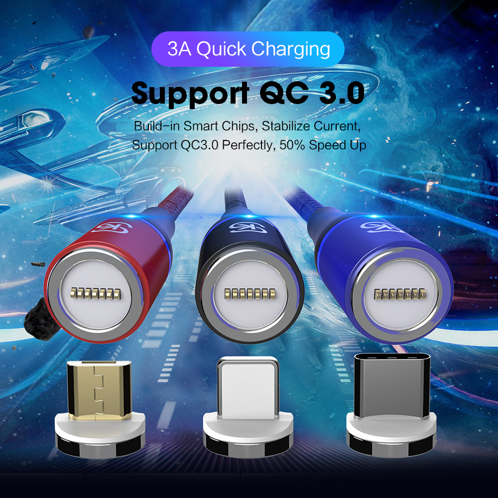 Sikai QC 3.0 3A Data Sync Fast Charging Cable/Led 3 In 1 Phone Magnetic Usb Charging Cable