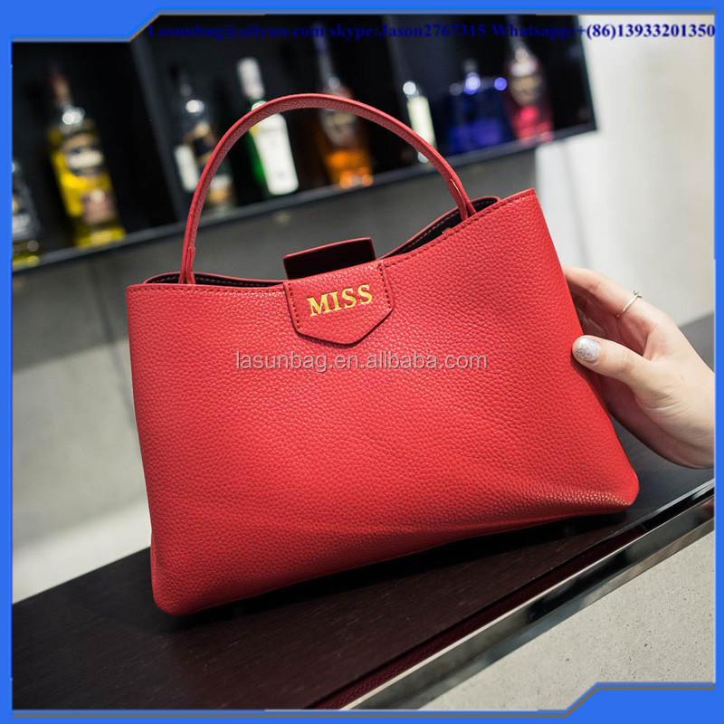 Fashion Red Big Size Tote Bag Handbag Set for Women