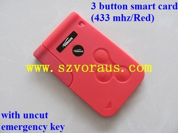 Red Megane 3 Button Smart Key Card 433 Mhz With Uncut Emergency Key  (pcf7947 Chip) - Buy Red Megane 3 Button Smart Key Card,Renault Remote  Key,Clio