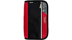 Five Star Xpanz Zipper Carrying Case / Pouch for Pencil, Pen, Supplies - Puncture Resistant, Red/Black