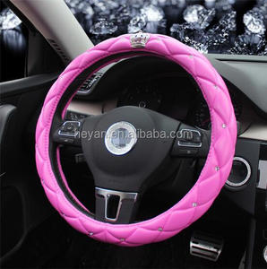 durable crown dimond fancy pu pvc white pink car steering wheel cover