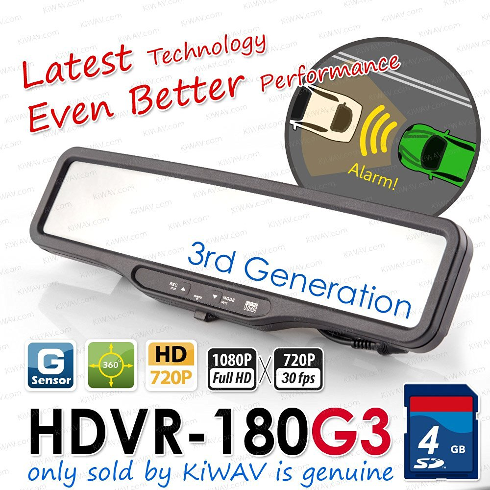 ABEO HDVR-180G3 FHD 1080P@30FPS CAR DVR Rear Mirror G SENSOR WDR LDWS + FCWS time machine crash cam recorder 4gb SD