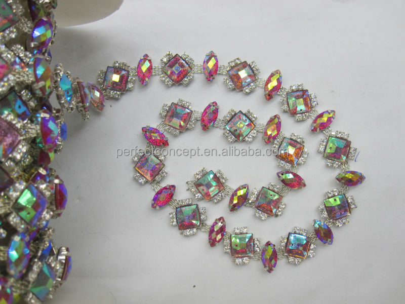 Hot selling fushia AB stone trimming/ bling bling stone trimming for wedding dress