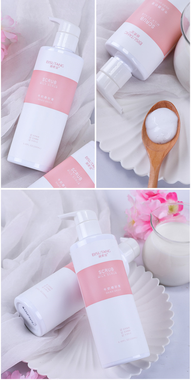 250ml beauty personal care face body cleansing scrub gel  natural milk private label face scrub
