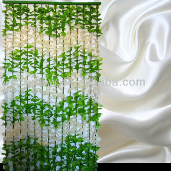 Artificial Fabric Leaf Bamboo Beaded String Door Curtain