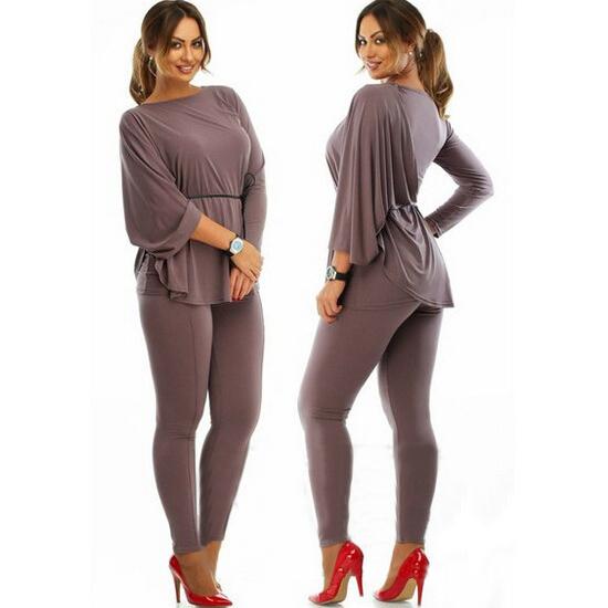 16306eca936 Get Quotations · 2015 Fashion women 2 piece set Half batwing sleeve shirt  with solid sheath pant suit plus