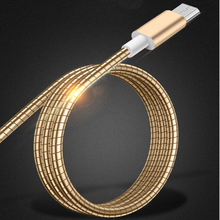 Custom Best Quality Super Strong 100CM Metal Hose Micro USB Data Cable For Samsung Mobile 2.1A