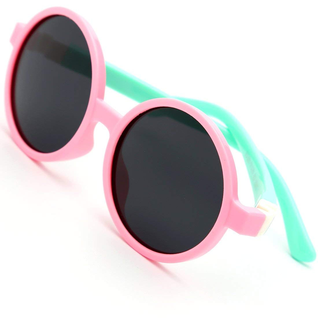 modesoda Kids Sunglasses Pink Soft Silicone Rubber Round Sunglasses Polarized Lens