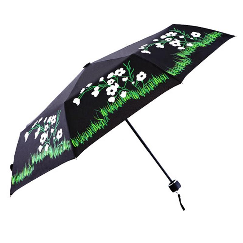 Новое поступление женщины дождь зонтик анти-уф зонтик не-автоматические солнечный и дождливый зонтик 8 ребра три складной зонт