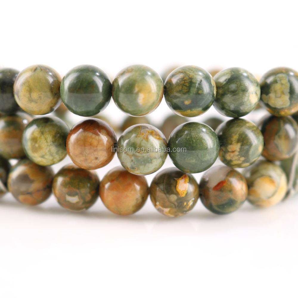 3249bccd8047 Redonda al por mayor verde viejo kambaba Jasper Piedra Natural perlas para  joyería hacer DIY pulsera