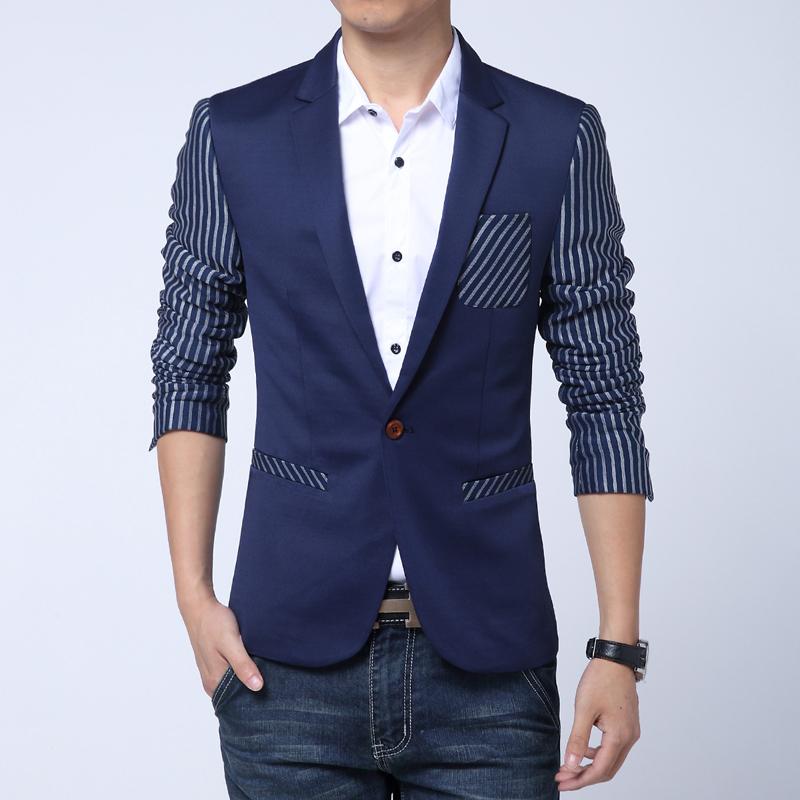 Compra informal chaqueta a rayas para hombre online al por
