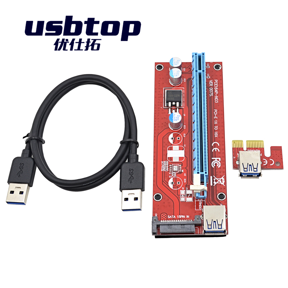 007S in stockPCI-E PCI Express Riser Card 1x to 16x USB 3.0 Data Cable SATA to 6Pin IDE Molex Power Supply for BTC Miner Machine