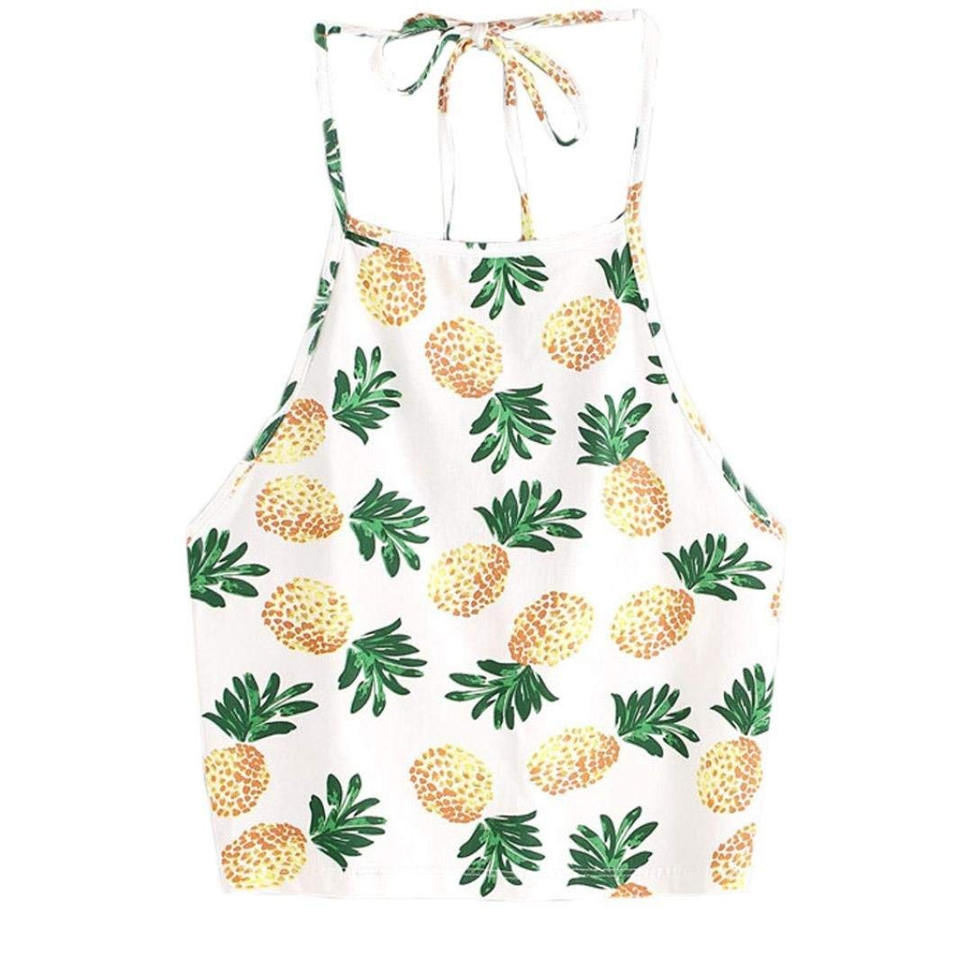 Challyhope Women Cute Vest, Pineapple Print Tank Top Summer Camisole Sexy Halter Crop Tops (L, Yellow (Halter Hanging Neck))