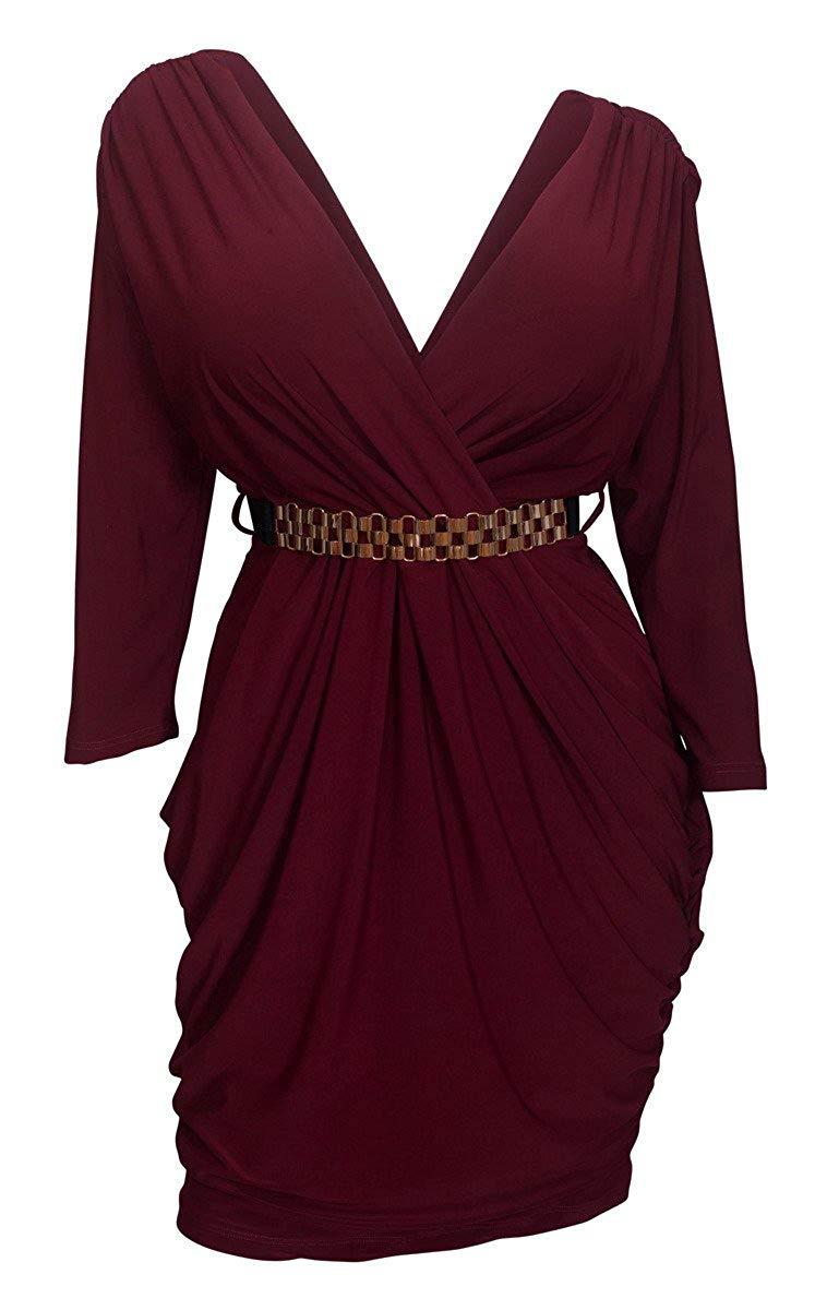 139a799f1e8 Get Quotations · eVogues Plus Size Deep V-Neck Wrap Bodice Dress