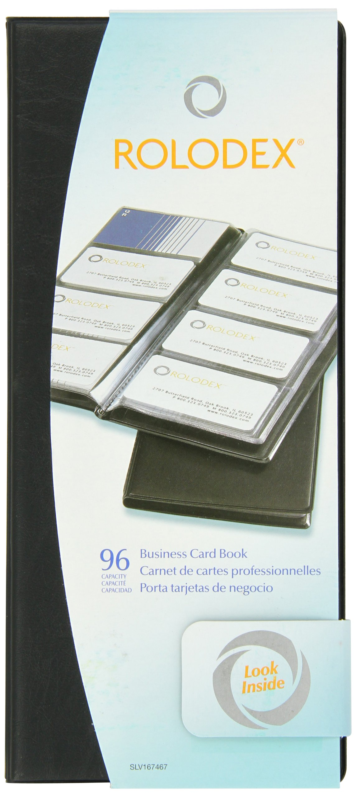 Rolodex Vinyl Business Card Book with A-Z Tabs, Holds 96 Cards of 2.25 x 4 Inches, Black (67467)