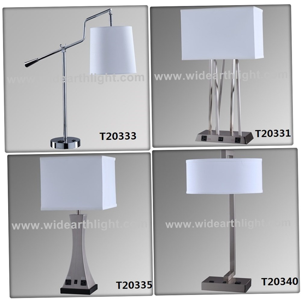 Ul Cul Listed Hot Selling Usa Style Hotel Bedroom Lamp With Outlet And Usb Ports And Base Switch ...