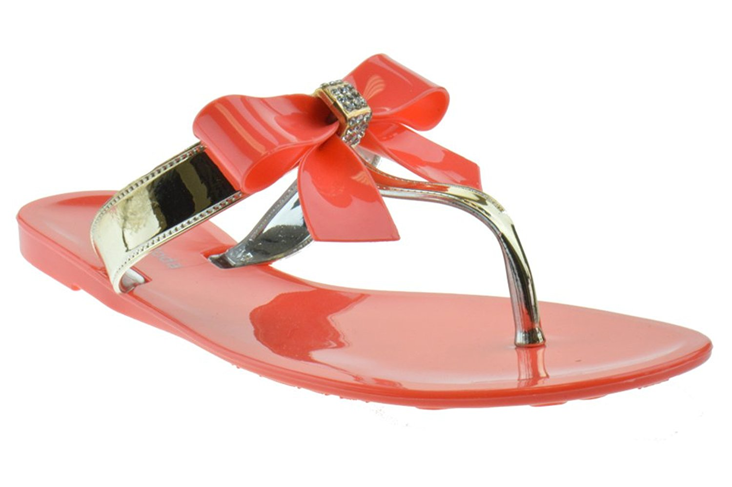 d7a9b810d0e9cd Get Quotations · BF 2 Jelly Bow Rhinestone Flip Flop Comfort Flat Sandals